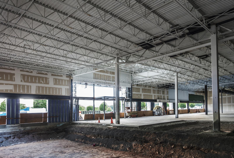 Retail space construction site. Retail space under construction site stock photography