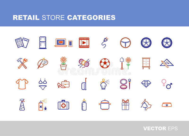 Retail store categories. Retail and store categories icons set grayscale, high detailed vector designs stock illustration