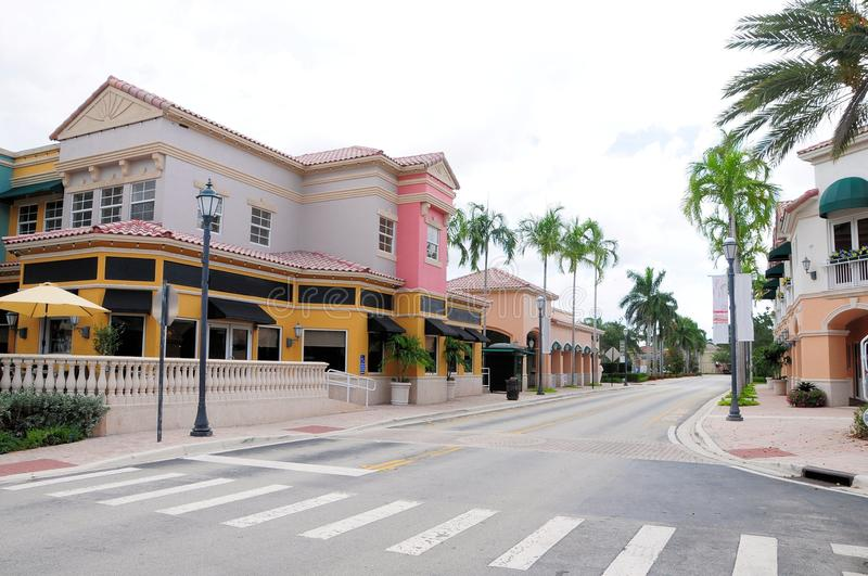 Retail stores & restaurants, FL. Town center with businesses, restaurants and strips of stores in shopping plaza in Weston, South Florida royalty free stock photography