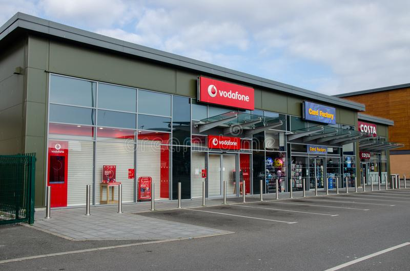 Retail stores on the shopping park at Prestatyn royalty free stock image