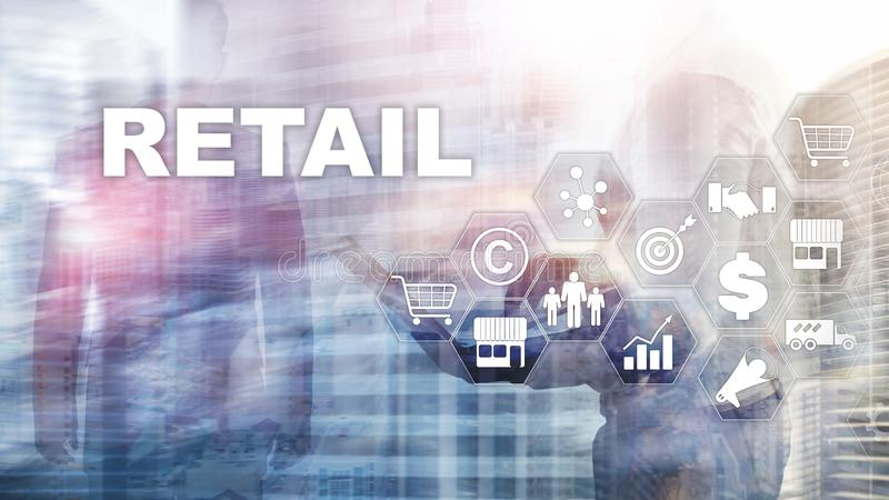 Retail Technology Communication Shopping Virtual Screen Concept. Marketing Data management. Futuristic Online shopping royalty free stock photography