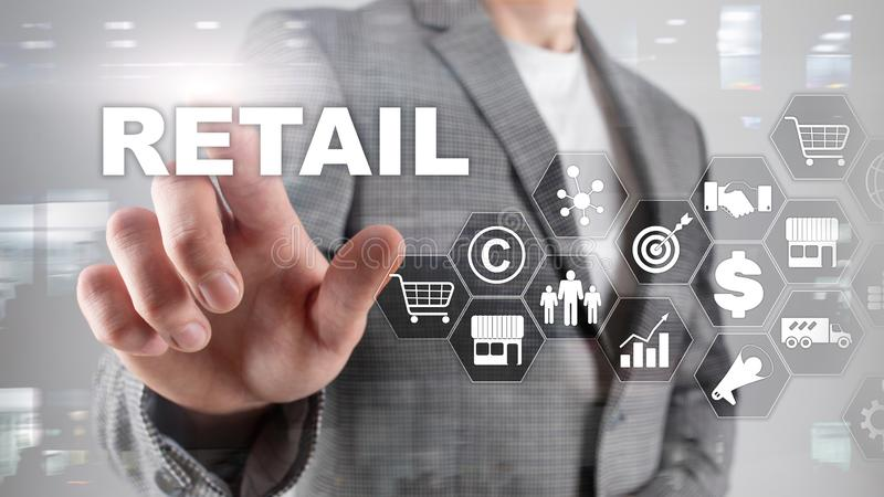 Retail Technology Communication Shopping Virtual Screen Concept. Marketing Data management. Futuristic Online shopping. Abstract Background stock images