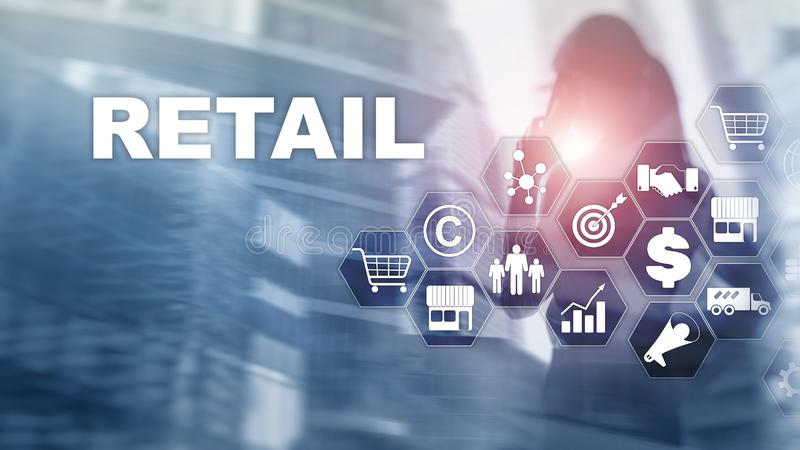 Retail Technology Communication Shopping Virtual Screen Concept. Marketing Data management. Futuristic Online shopping. Abstract Background stock photography