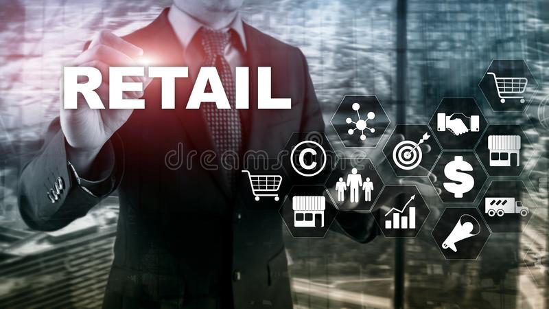 Retail Technology Communication Shopping Virtual Screen Concept. Marketing Data management. Futuristic Online shopping stock photography
