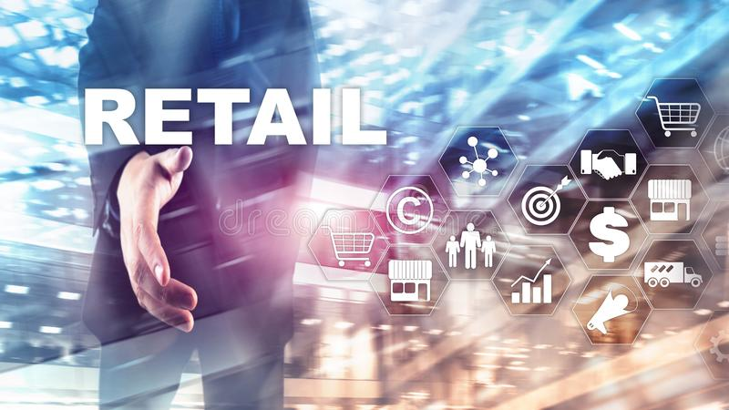 Retail Technology Communication Shopping Virtual Screen Concept. Marketing Data management. Futuristic Online shopping. Abstract B royalty free stock images
