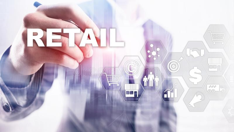 Retail Technology Communication Shopping Virtual Screen Concept. Marketing Data management. Futuristic Online shopping royalty free stock images