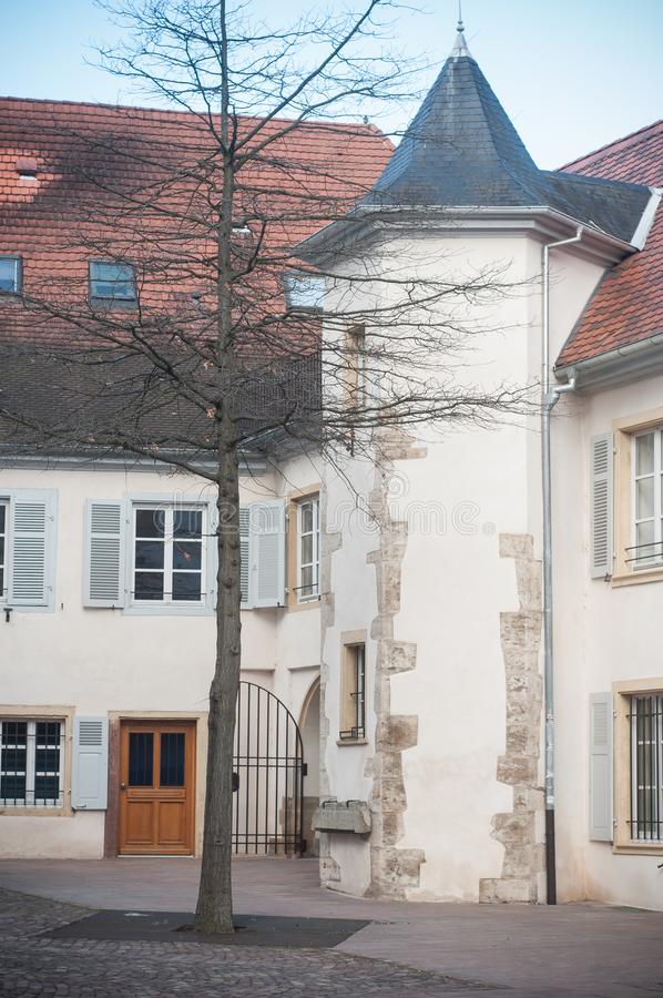 Typical architecture in Mulhouse in France. Retail of typical architecture in Mulhouse in France stock photography