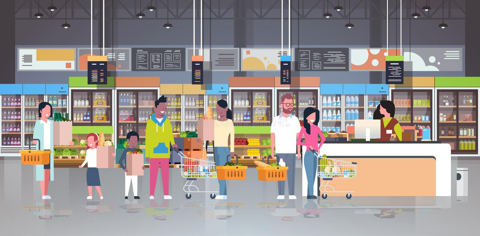 Retail woman cashier at checkout supermarket mix race customers holding basket with food standing line queue shopping stock illustration