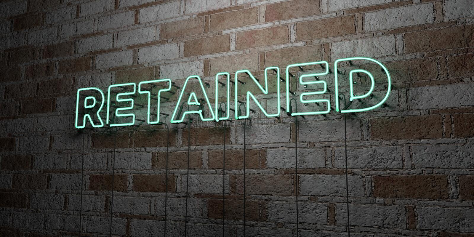 RETAINED - Glowing Neon Sign on stonework wall - 3D rendered royalty free stock illustration. Can be used for online banner ads and direct mailers stock illustration