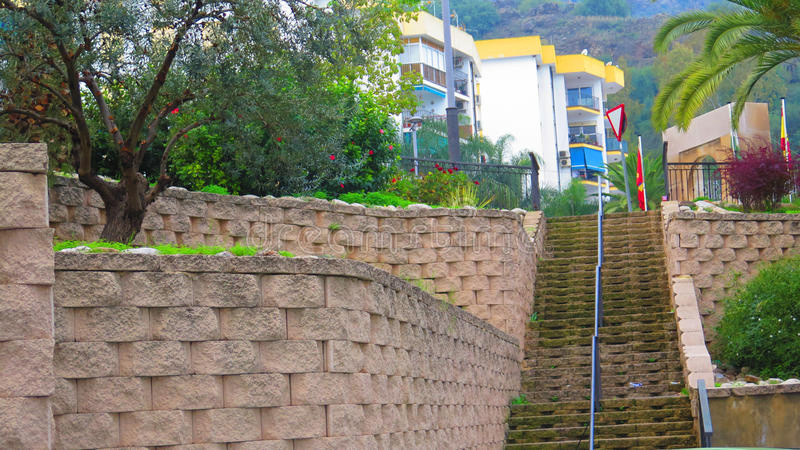 Retaining wall and steps stock images