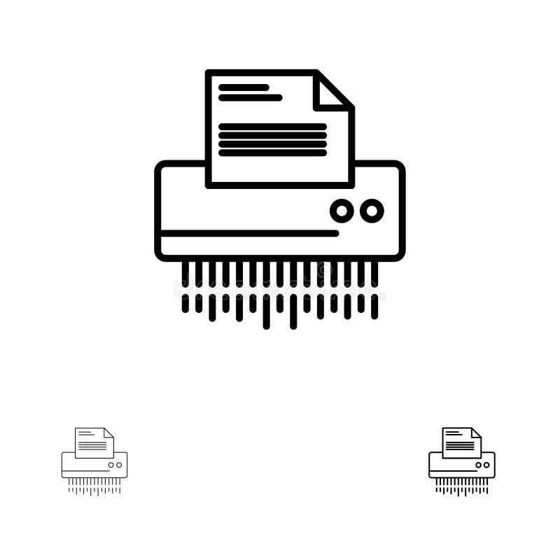 Retalhadora, confidencial, dados, arquivo, informação, escritório, linha preta corajosa e fina de papel grupo do ícone ilustração royalty free