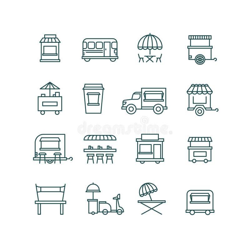 Retalho do alimento da rua, linha ícones do caminhão do vetor ilustração stock