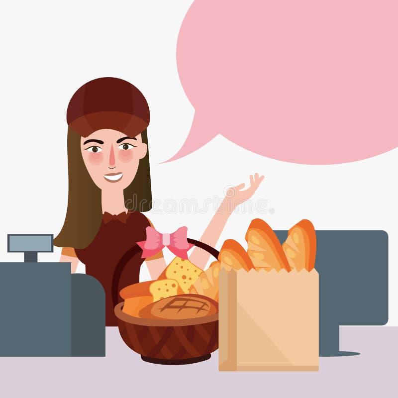 Retalho do mantimento do contador do supermercado do pão da despensa do caixa da menina ilustração stock