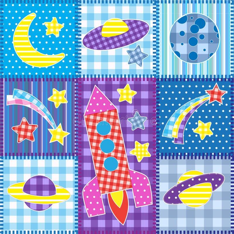 Retalhos coloridos do espaço ilustração do vetor