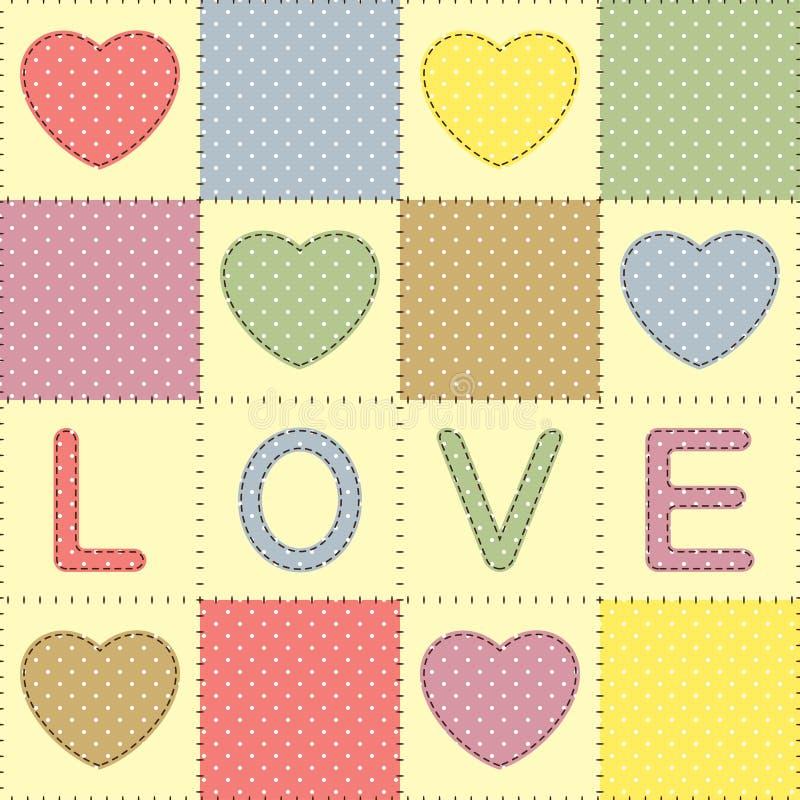 Retalhos com corações e amor ilustração stock