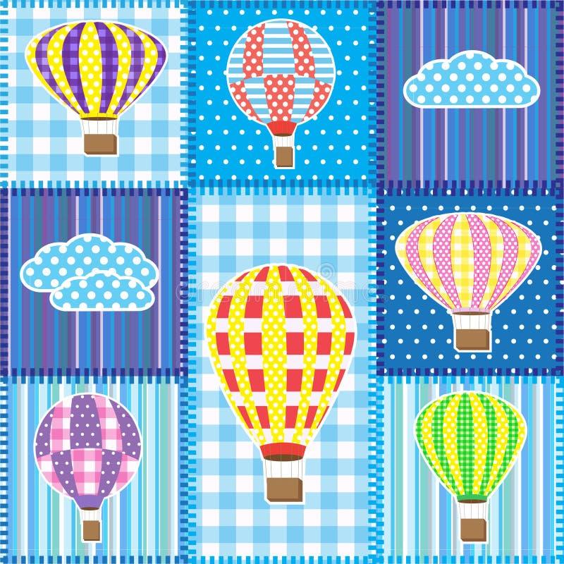 Retalhos com os balões de ar quente ilustração do vetor