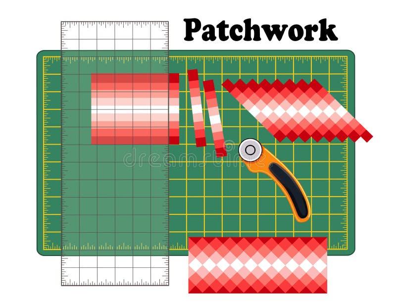 Retalhos DIY, esteira do corte, régua de Quilters, cortador giratório da lâmina, teste padrão tradicional do projeto da parte da  ilustração royalty free