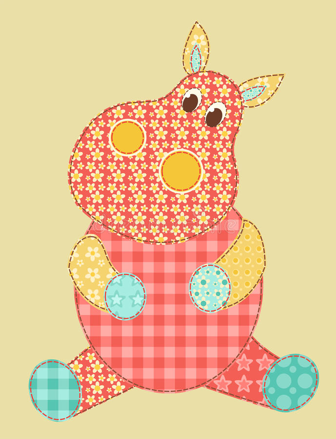Retalhos do Hippopotamus ilustração stock
