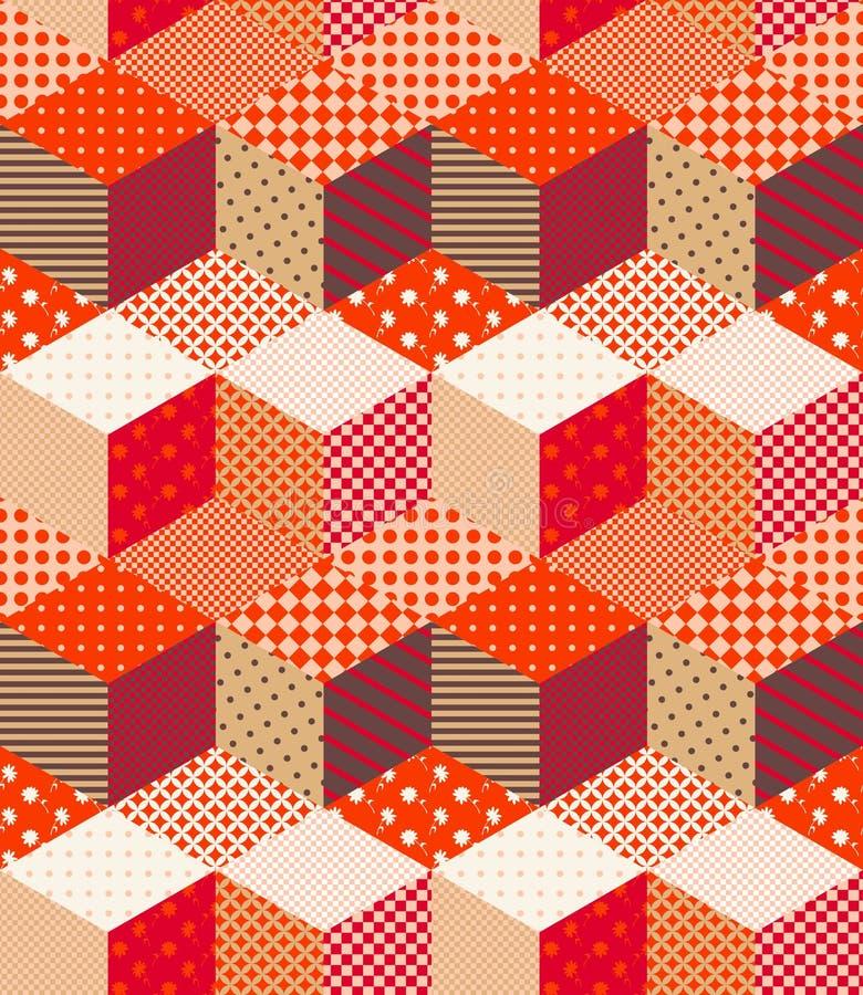 Retalhos em cores mornas do outono Teste padrão sem emenda do ziguezague colorido brilhante ilustração do vetor
