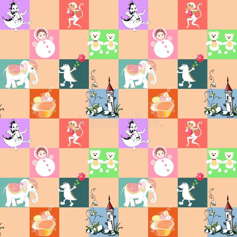 Retalhos para crianças Vector o teste padrão sem emenda animal com elefante, dragão, macaco, castelo, crocodilo, brinquedos, e bo ilustração royalty free