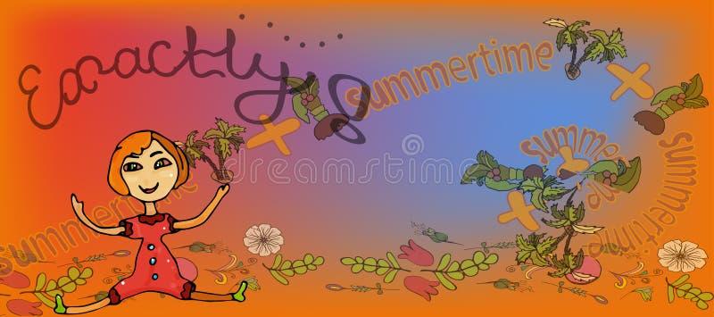Retangular longo e texto do inseto da cor da menina das horas de verão uma fotografia de stock royalty free