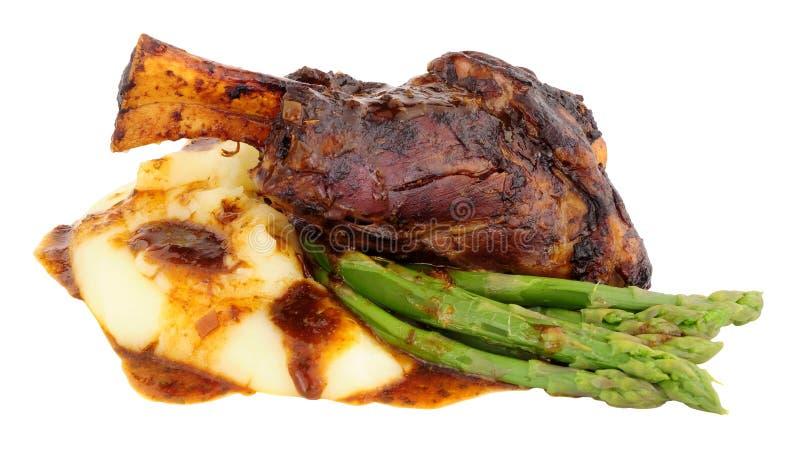 Retarde a refeição cozinhada da pata do cordeiro fotografia de stock royalty free