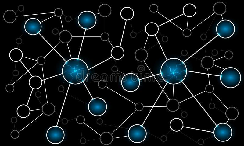 Rete astratta collegata dei cerchi illustrazione di stock