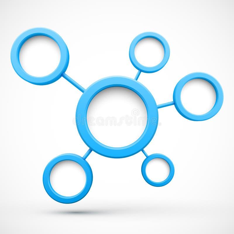 Rete astratta con i cerchi 3D illustrazione di stock