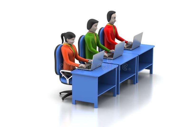 Rete con il computer portatile illustrazione di stock