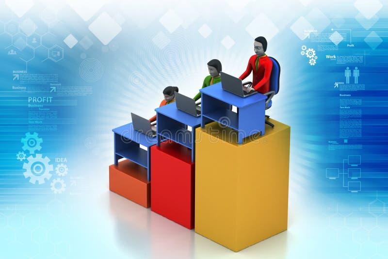 Rete con il computer portatile illustrazione vettoriale