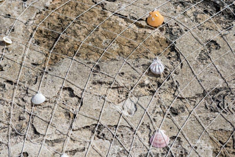 Rete da pesca con le coperture sul fondo della roccia fotografia stock