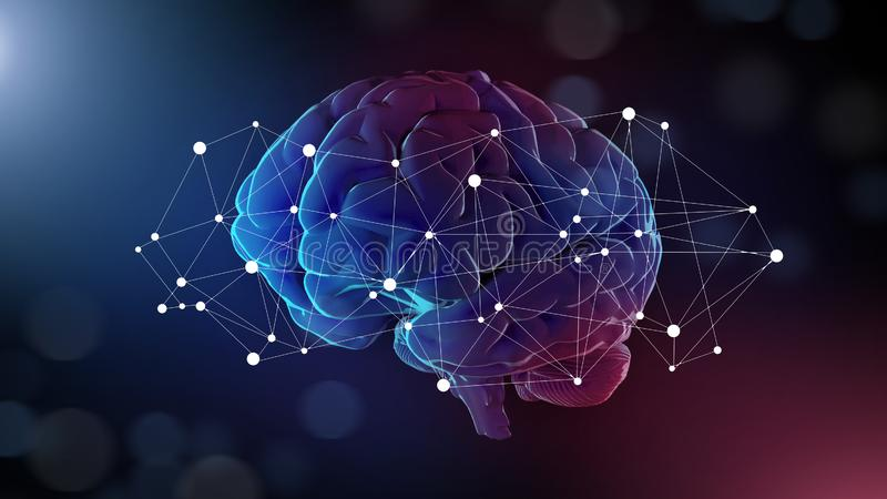 Rete del collegamento e del cervello umano intorno  illustrazione di stock