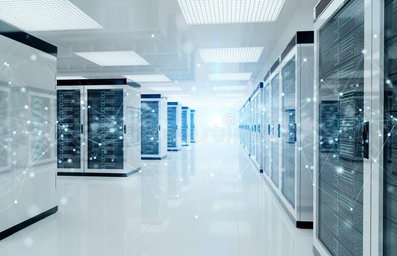 Rete del collegamento nella rappresentazione dei sistemi di memorizzazione della stanza del centro dati dei server 3D illustrazione di stock