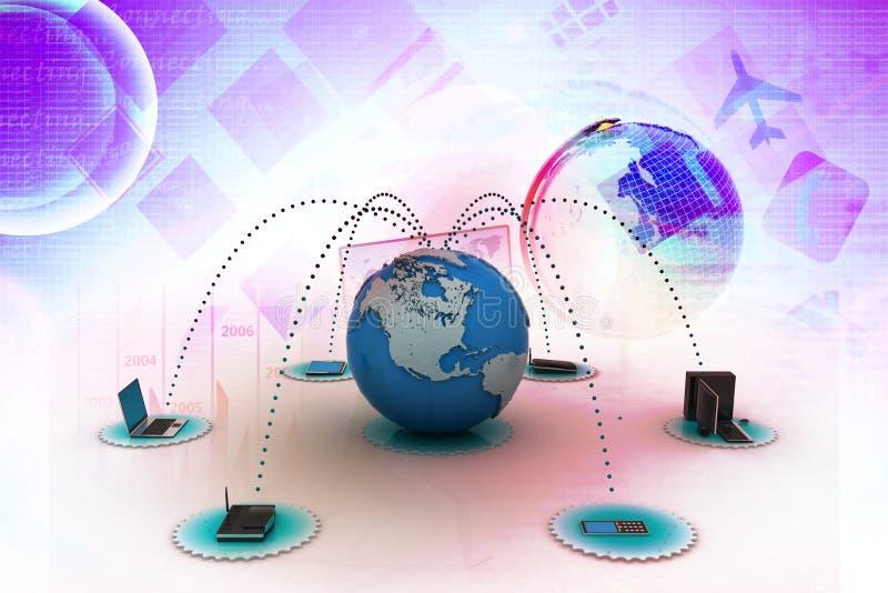 Rete del computer con il globo royalty illustrazione gratis