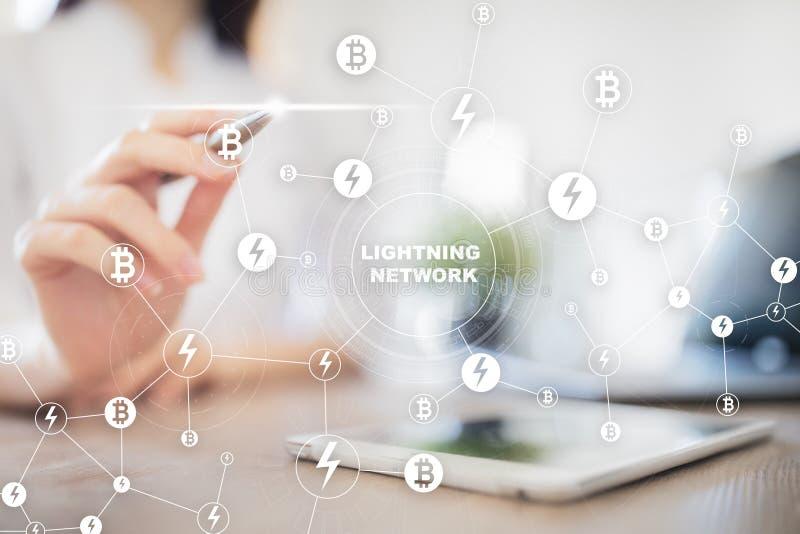 Rete del fulmine - secondo protocollo di pagamento di strato che funziona sopra un blockchain Bitcoin, cryptocurrency fotografia stock libera da diritti