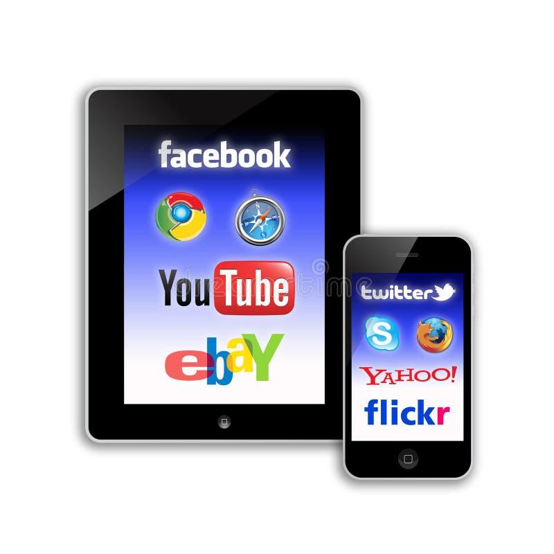 Rete del social di comunicazioni su mezzi mobili royalty illustrazione gratis