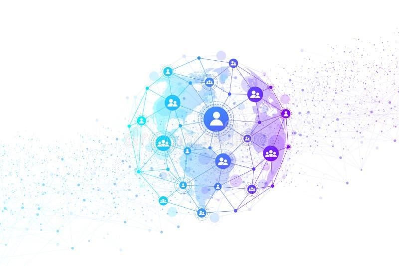 Rete della struttura e concetto globali della connessione dati Comunicazione della rete sociale nelle reti di computer globali illustrazione vettoriale