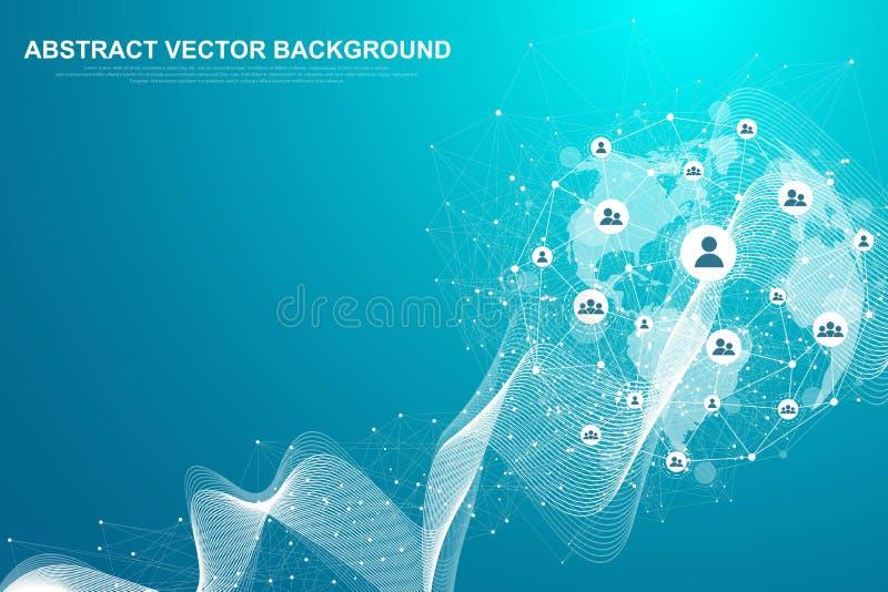 Rete della struttura e concetto globali della connessione dati Comunicazione della rete sociale nelle reti di computer globali royalty illustrazione gratis