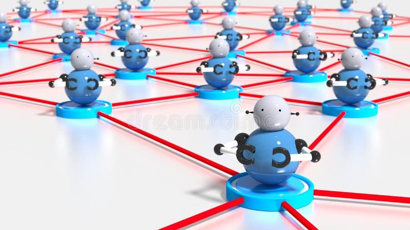 Rete delle piattaforme con i bots sul conce superiore di cybersecurity del botnet illustrazione vettoriale