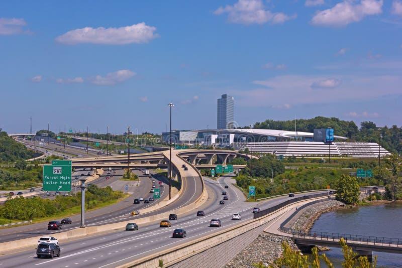 Rete delle strade principali al porto nazionale, Maryland, U.S.A. fotografia stock libera da diritti