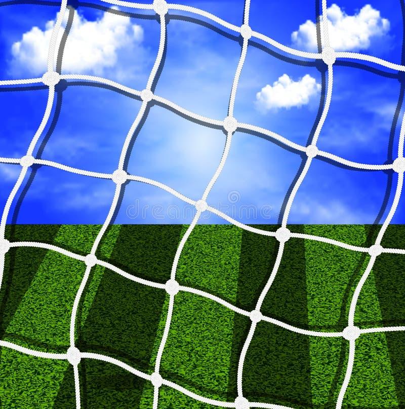 Rete di calcio contro il cielo ed il campo royalty illustrazione gratis
