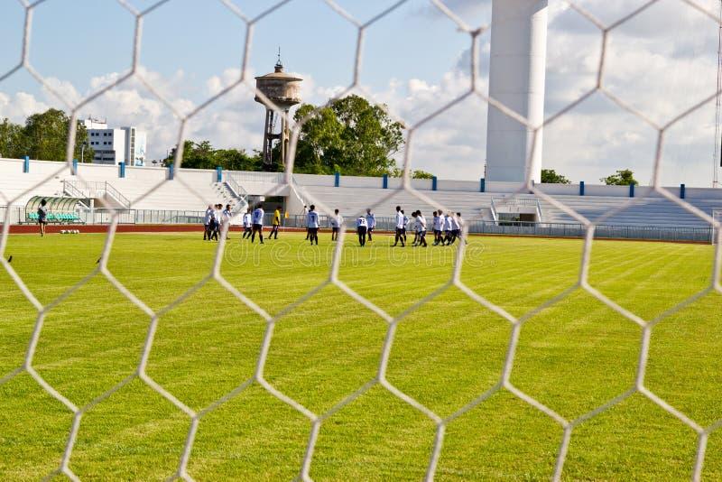 Rete di calcio su erba verde fotografia stock