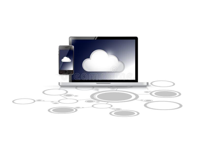 Rete di calcolo del collegamento di collegamenti della nuvola illustrazione vettoriale