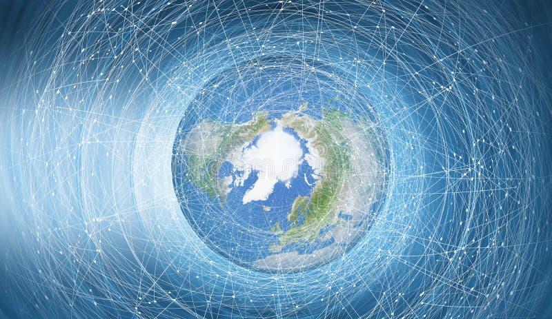 Rete di comunicazione globale intorno alla serie di concetto del pianeta Terra immagine stock libera da diritti