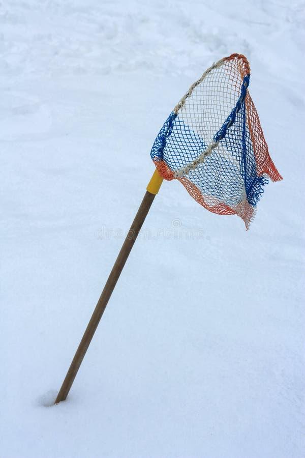 Rete di giorno di inverno nella neve l'aspettativa della molla immagini stock