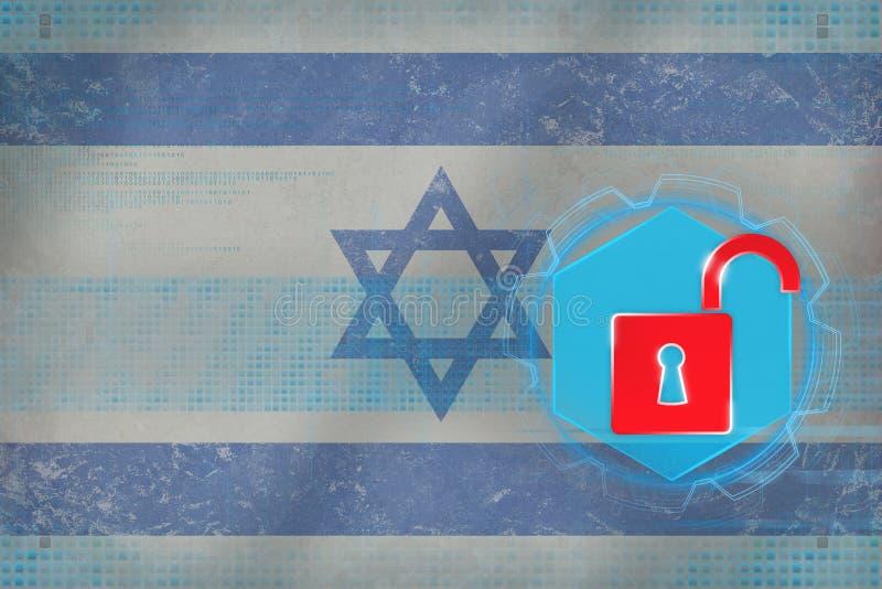 Rete di Israele sprotetta Concetto della difesa della rete illustrazione di stock