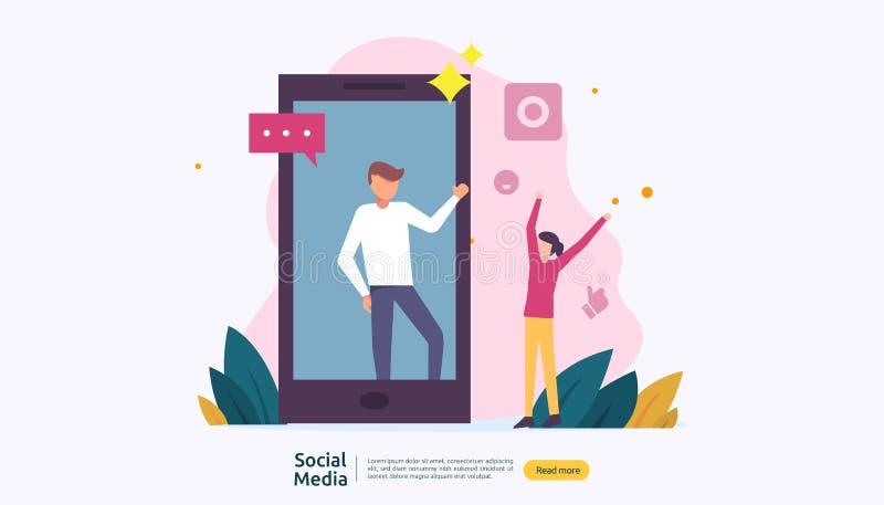 Rete di media e concetto sociali del influencer con il carattere dei giovani nello stile piano modello dell'illustrazione per la  illustrazione vettoriale