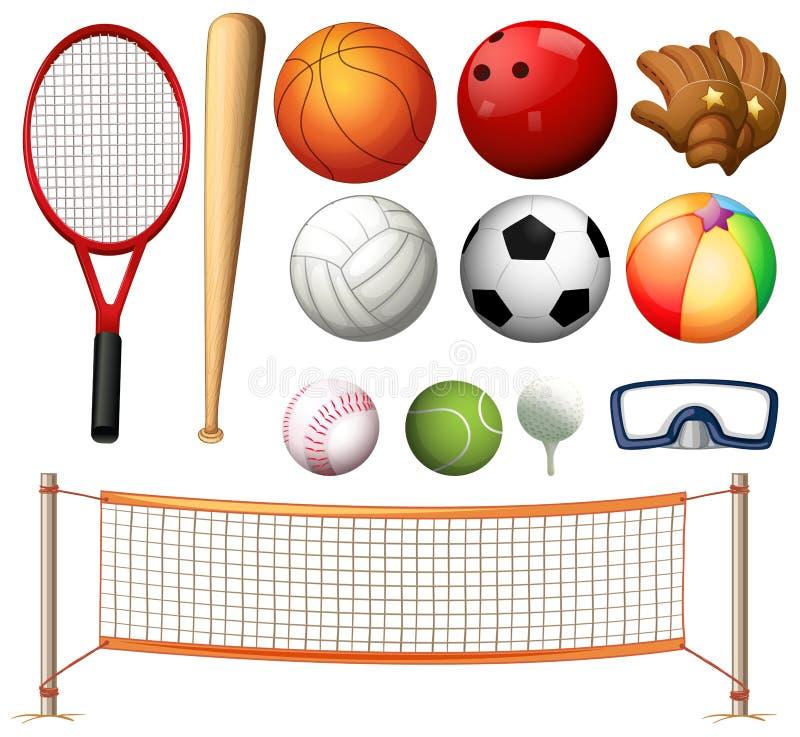 Rete di pallavolo e tipi differenti di palle royalty illustrazione gratis