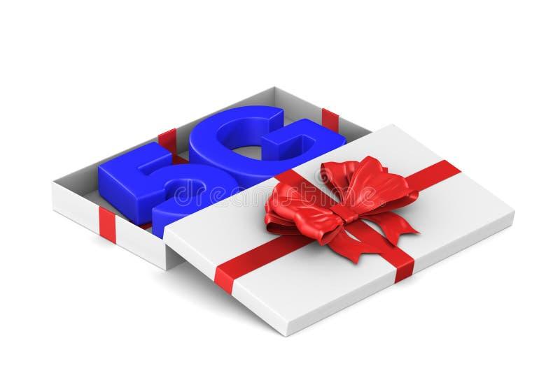 rete 5g nel contenitore di regalo aperto su fondo bianco Illustrazione isolata 3d illustrazione di stock