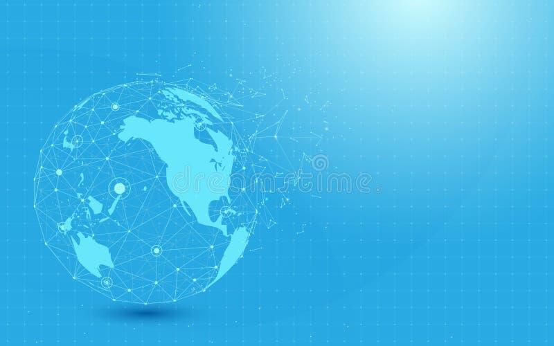 Rete globale con il punto della mappa di mondo e linee e triangoli, rete di collegamento del punto su fondo blu illustrazione vettoriale
